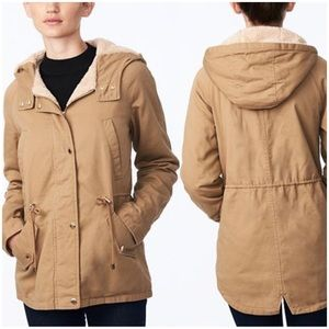 Tan Fleece Anorak Hood Lined Coat